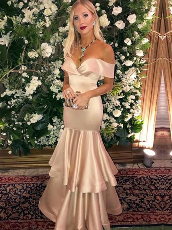 Trumpet/Mermaid Off-the-Shoulder Floor-Length Layers Satin Dresses