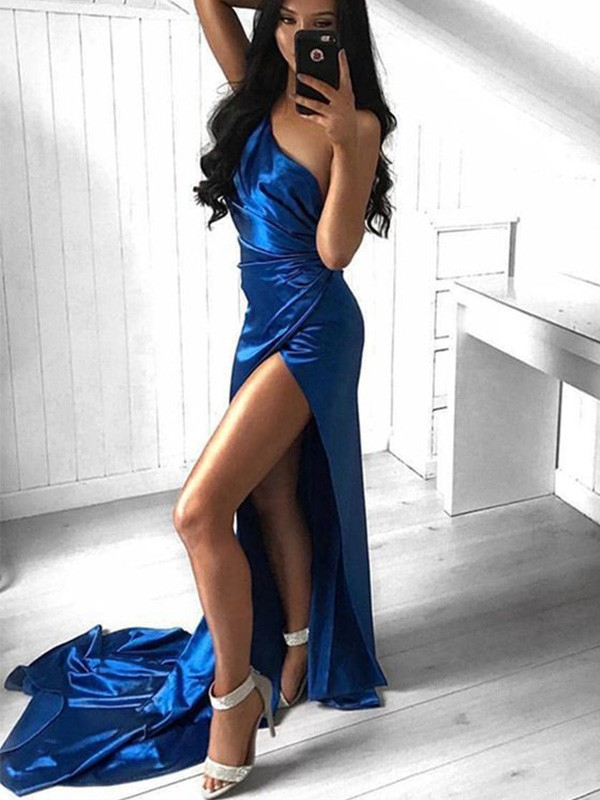 Sheath/Column One-Shoulder Court Train Ruched Elastic Woven Satin Dresses