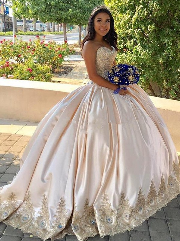 Ball Gown Sweetheart Sweep/Brush Train Beading Satin Dresses