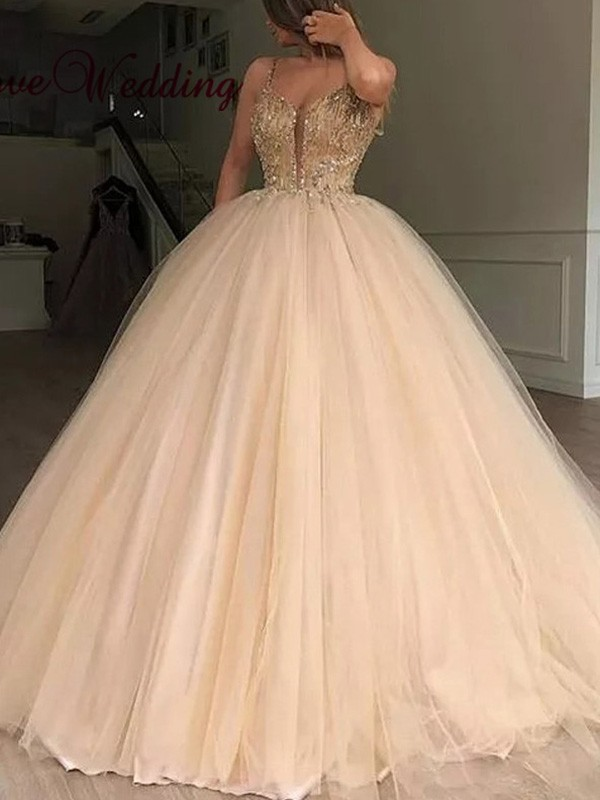 Ball Gown V-neck Floor-Length Beading Tulle Dresses