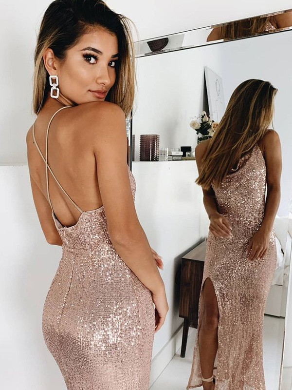 Trumpet/Mermaid Spaghetti Straps Ankle-Length Ruched Sequins Dresses
