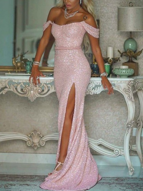 Trumpet/Mermaid Off-the-Shoulder Sweep/Brush Train Sash/Ribbon/Belt Sequins Dresses
