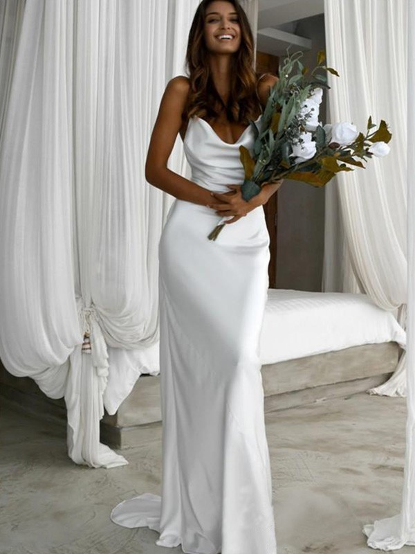 Sheath/Column Spaghetti Straps Sweep/Brush Train Ruched Silk like Satin Wedding Dresses