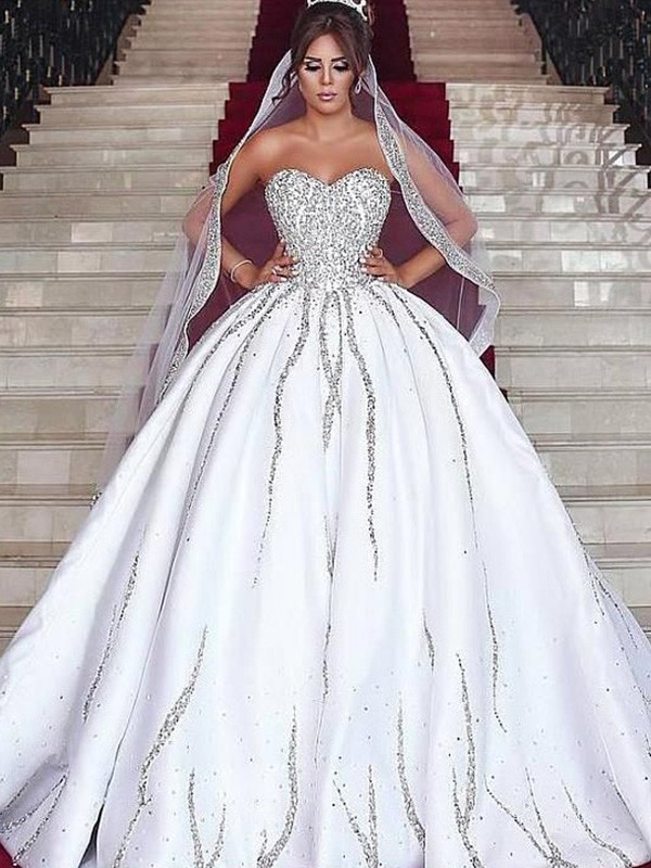 Ball Gown Sweetheart Sweep/Brush Train Beading Satin Wedding Dresses