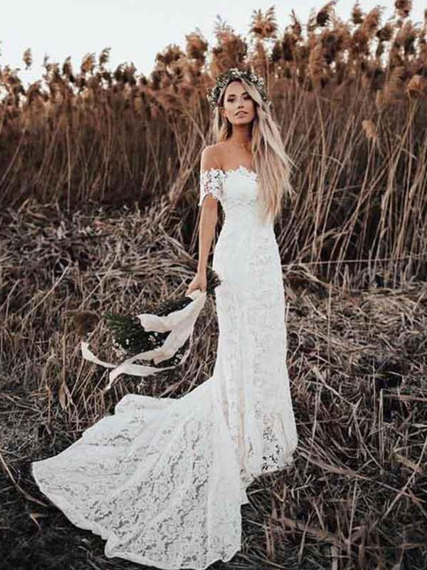 Trumpet/Mermaid Off-the-Shoulder Court Train Applique Lace Wedding Dresses