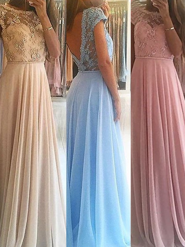 A-Line/Princess Sleeveless Scoop Long Chiffon Dresses With Beading