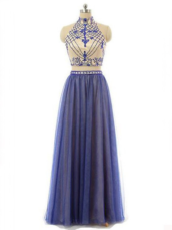 A-Line/Princess Sleeveless High Neck Chiffon Long Two Piece Dresses With Beading