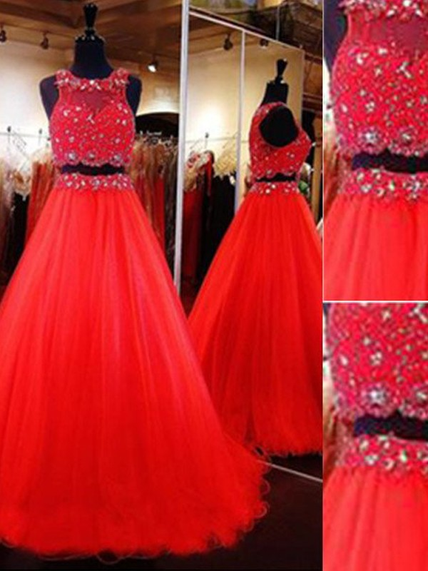 A-Line/Princess Scoop Sleeveless Long Tulle Two Piece Dresses With Beading