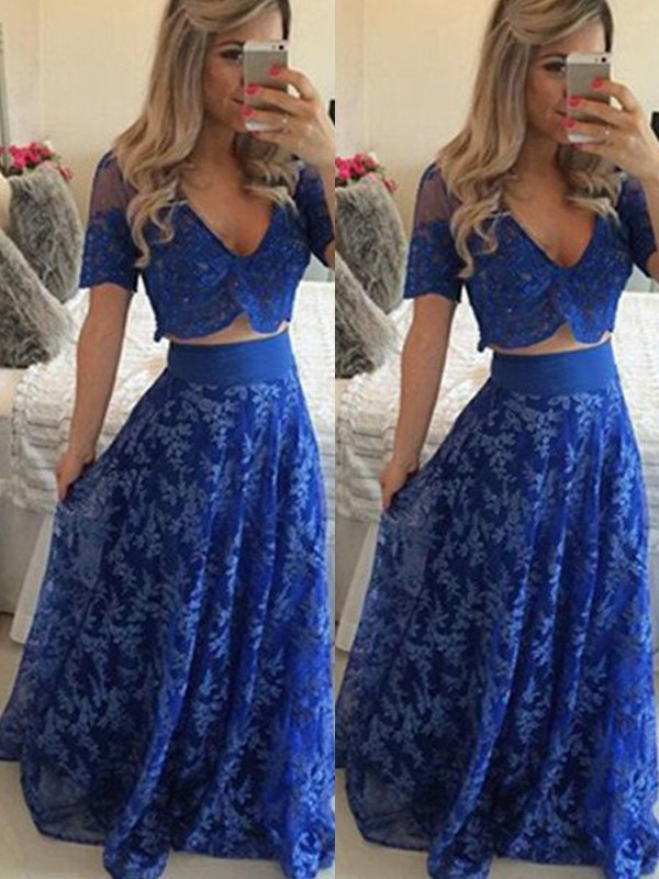 A-Line/Princess V-neck Short Sleeves Long Two Piece Dresses