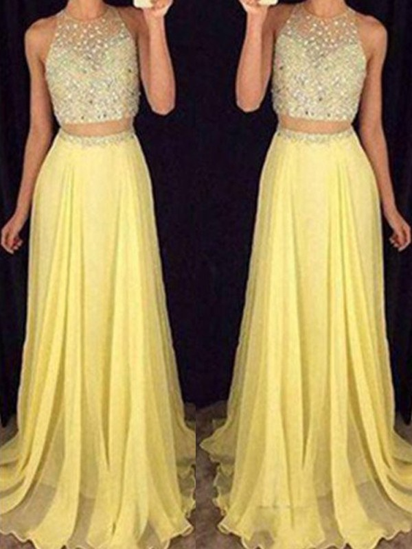A-Line/Princess Scoop Sleeveless Long Chiffon Two Piece Dresses With Beading