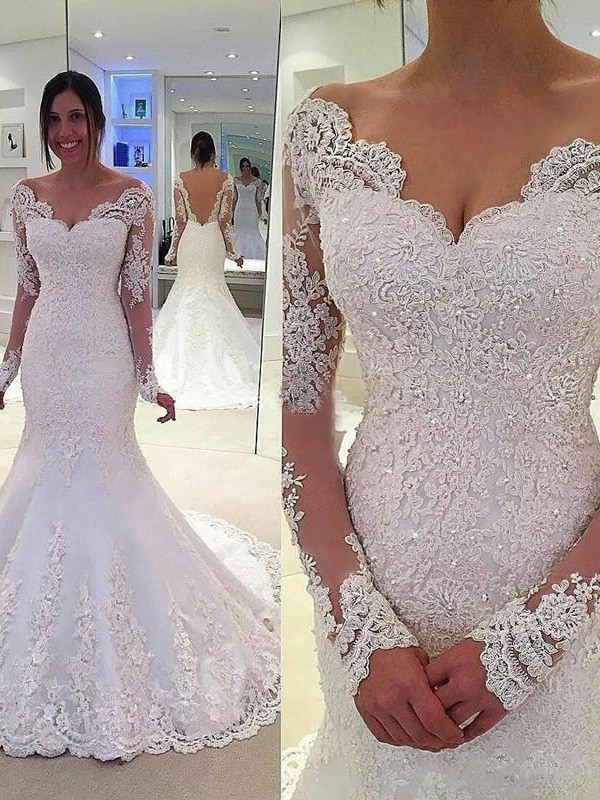 Mermaid V-neck Long Sleeves Court Train Tulle Wedding Dresses With Lace