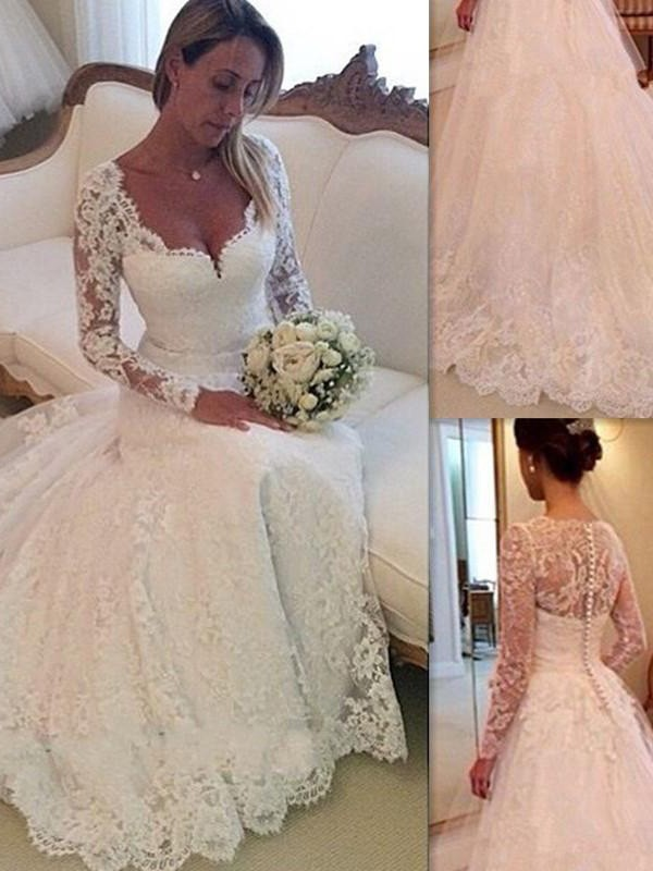 Unique Ball Gown V-neck Long Sleeves Court Train Tulle Wedding Dresses With Lace