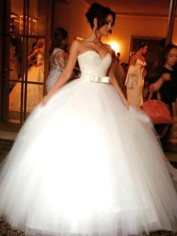 Ball Gown Sweetheart Tulle Sleeveless Floor-Length Wedding Dresses With Bowknot
