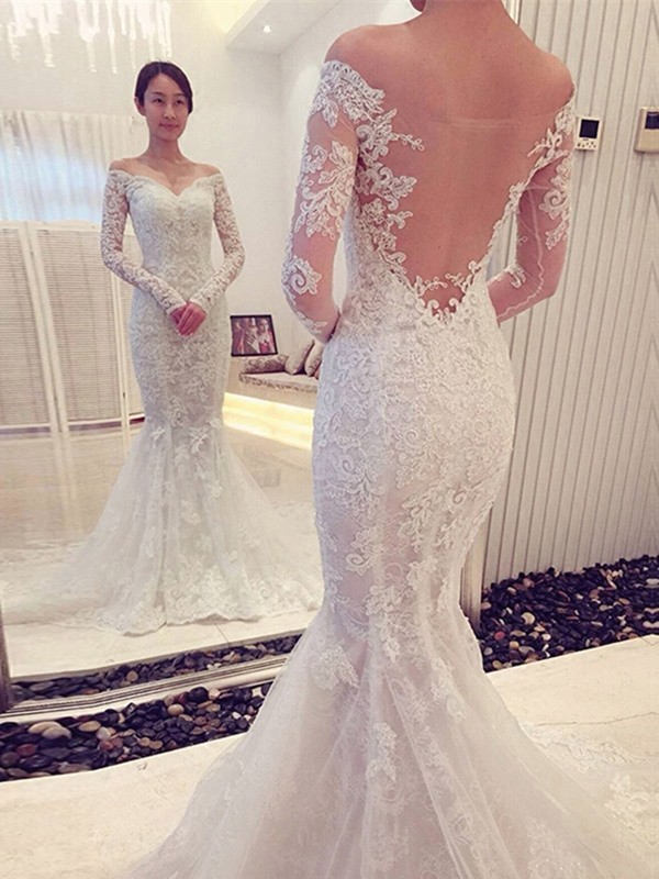 Trumpet/Mermaid Off-the-Shoulder Long Sleeves Chapel Train Wedding Dresses