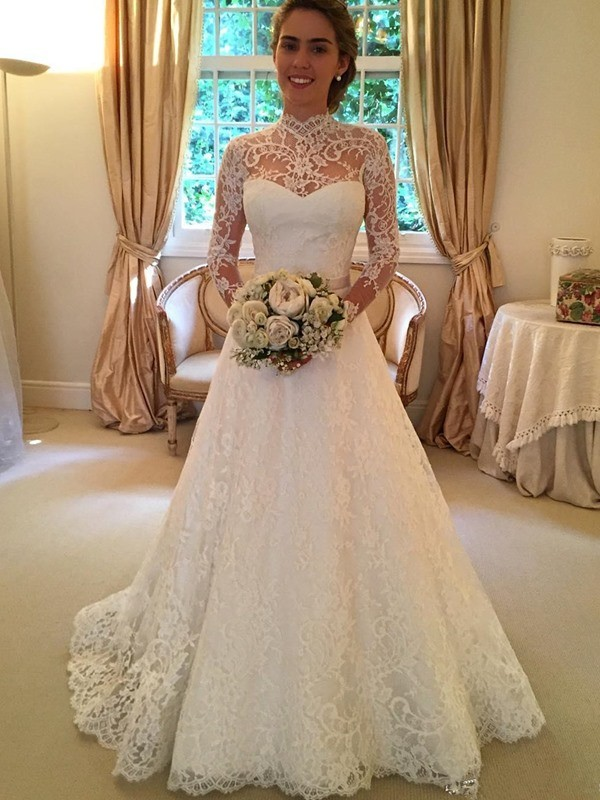 Ball Gown High Neck Long Sleeves Court Train Wedding Dresses With Lace