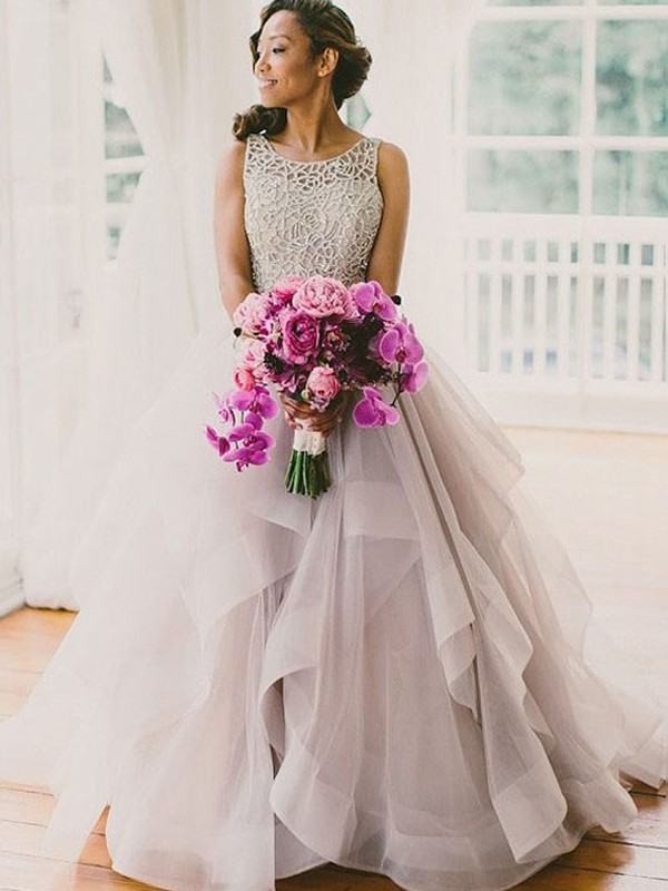 Ball Gown Sleeveless Scoop Sweep/Brush Train Tulle Wedding Dresses With Beading