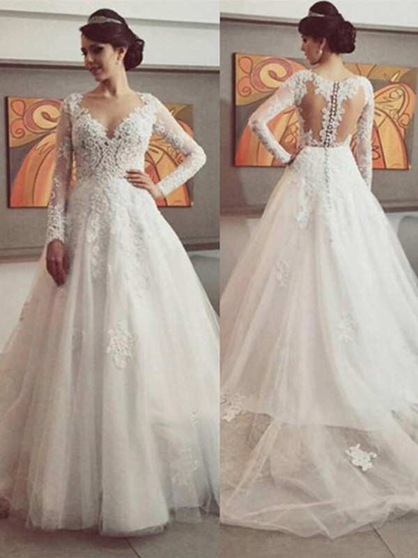 Fashion Ball Gown V-neck Long Sleeves Court Train Tulle Wedding Dresses With Lace