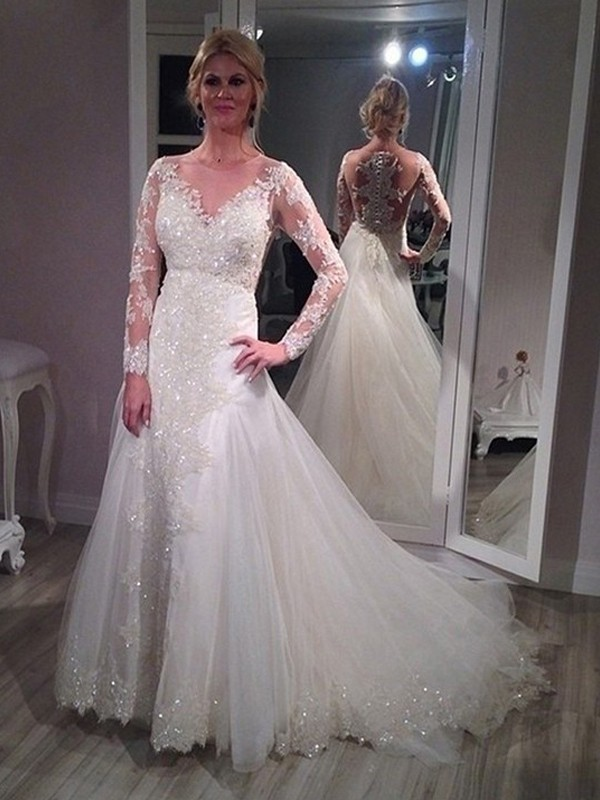 A-Line/Princess V-neck Sweep/Brush Train Long Sleeves Tulle Wedding Dresses With Sequin