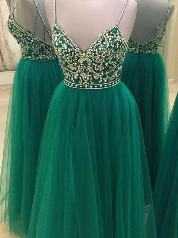 A-Line/Princess Spaghetti Straps Tulle Floor-Length Beading Dresses
