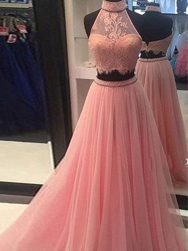 A-Line/Princess High Neck Tulle Lace Floor-Length Two Piece Dresses