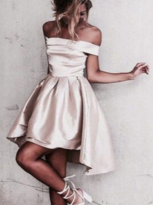 A-Line/Princess Sleeveless Off-the-Shoulder Satin Short/Mini Dress