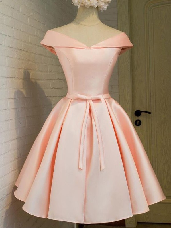 A-Line/Princess V-neck Sleeveless Satin Short/Mini Dress With Sash/Ribbon/Belt