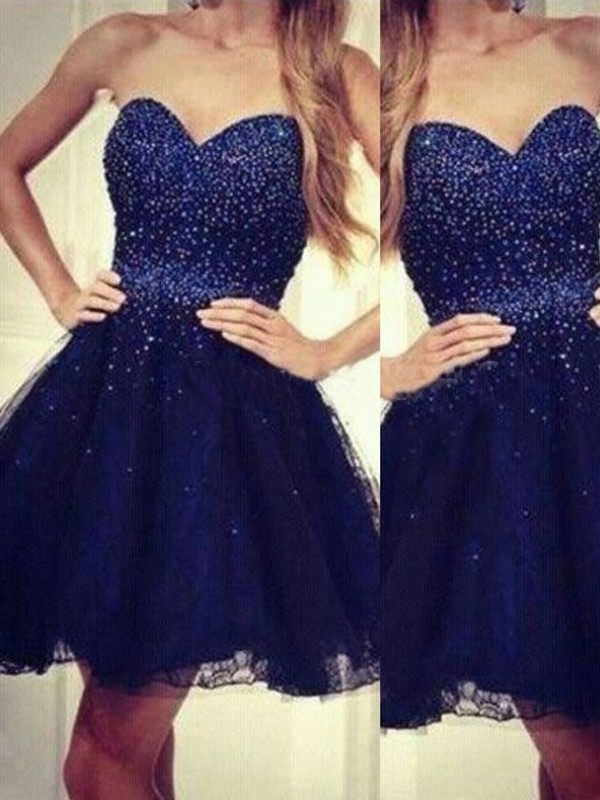 A-Line/Princess Sweetheart Sleeveless Short/Mini Tulle Dress With Beading