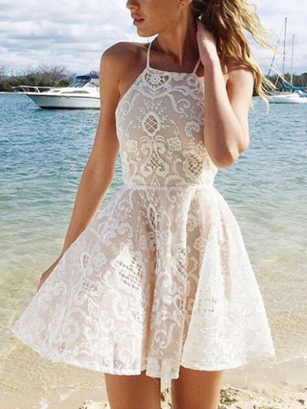 A-Line/Princess Sleeveless Halter Spandax Short/Mini Dress With Lace