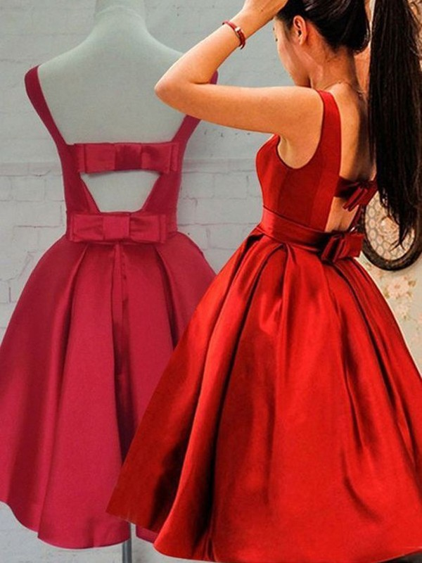 A-Line/Princess Sleeveless Scoop Satin Short/Mini Dress With Sash/Ribbon/Belt