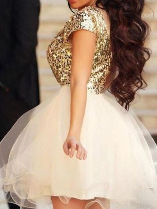 A-Line/Princess Sleeveless Scoop Sequin Tulle Short/Mini Dress With Sequin