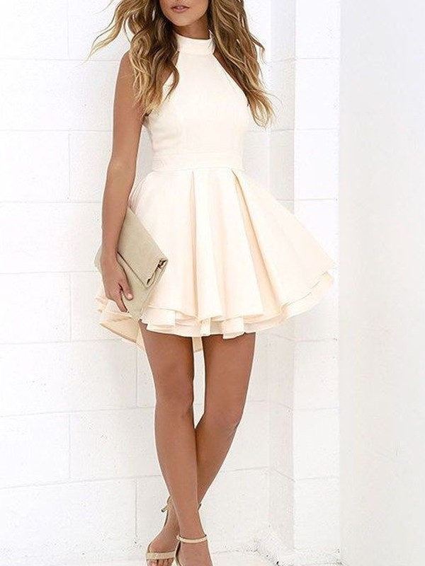 A-Line/Princess Sleeveless Halter Satin Short/Mini Dress