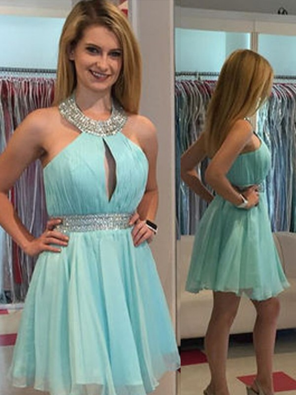 A-Line/Princess Sleeveless Halter Chiffon Short/Mini Dress With Beading