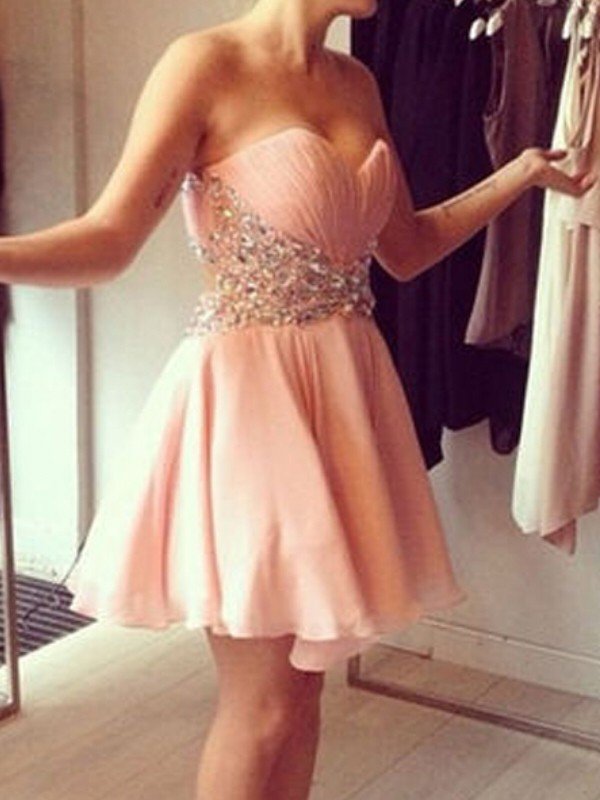 A-Line/Princess Sleeveless Sweetheart Chiffon Short/Mini Dress With Beading