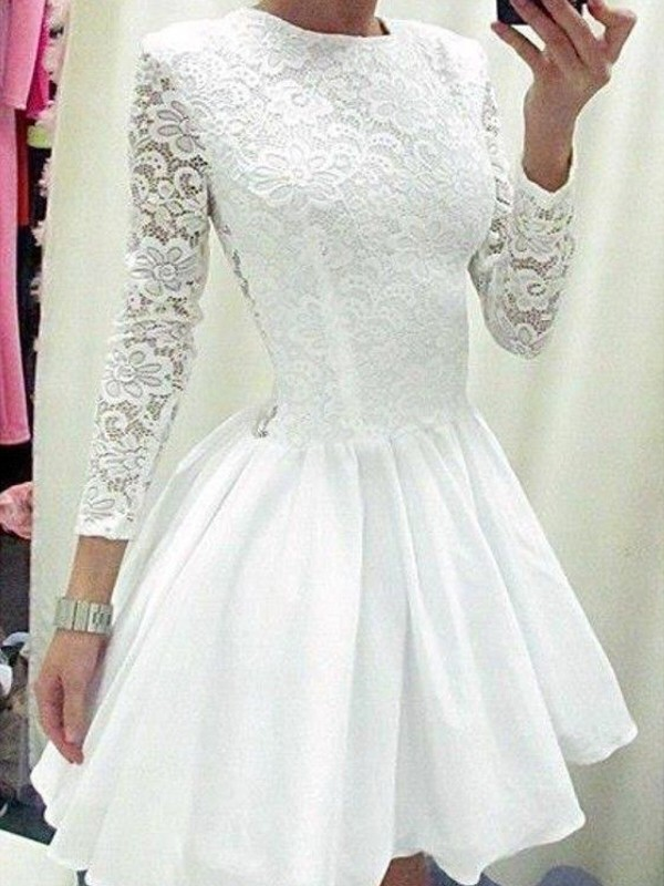 A-Line/Princess Long Sleeves Scoop Chiffon Short/Mini Dress With Lace