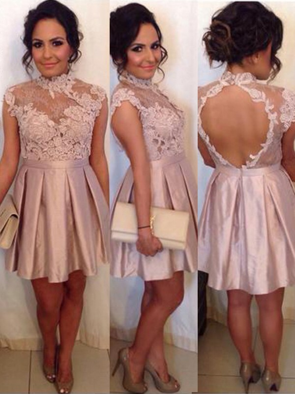 A-Line/Princess Sleeveless High Neck Satin Short/Mini Dress With Lace