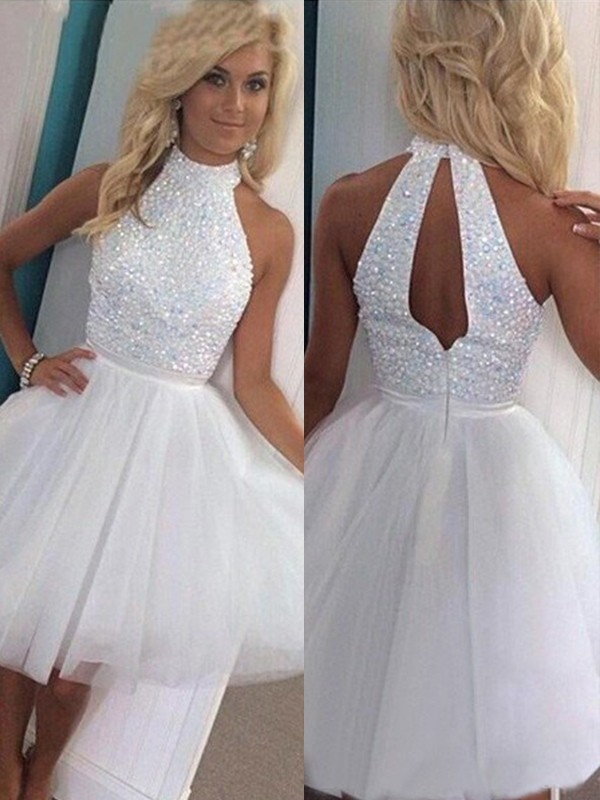 Unique A-Line/Princess Sleeveless Halter Tulle Short/Mini Dress With Beading