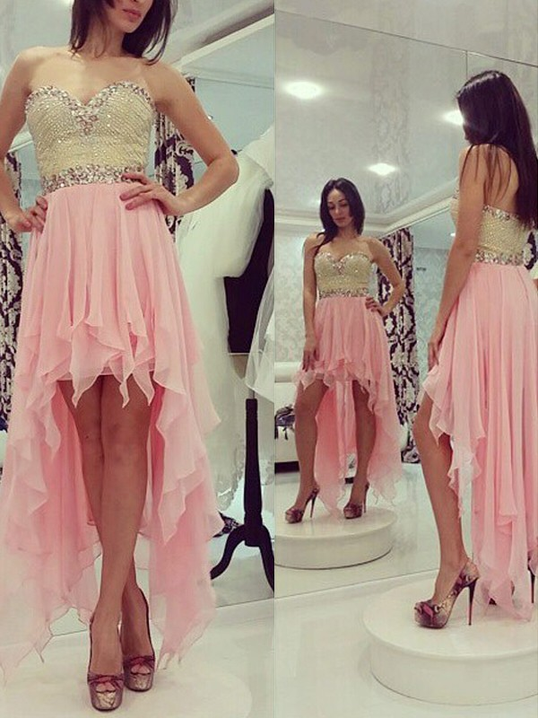 A-Line/Princess Sleeveless Sweetheart Chiffon Asymmetrical Dress With Beading