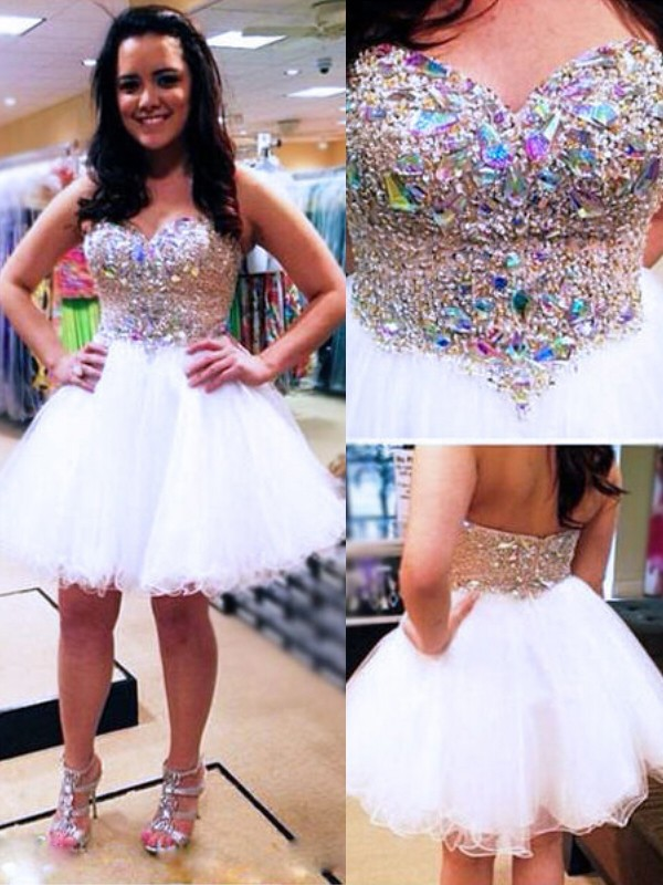 Fashion A-Line/Princess Sleeveless Sweetheart Tulle Short/Mini Dress With Beading