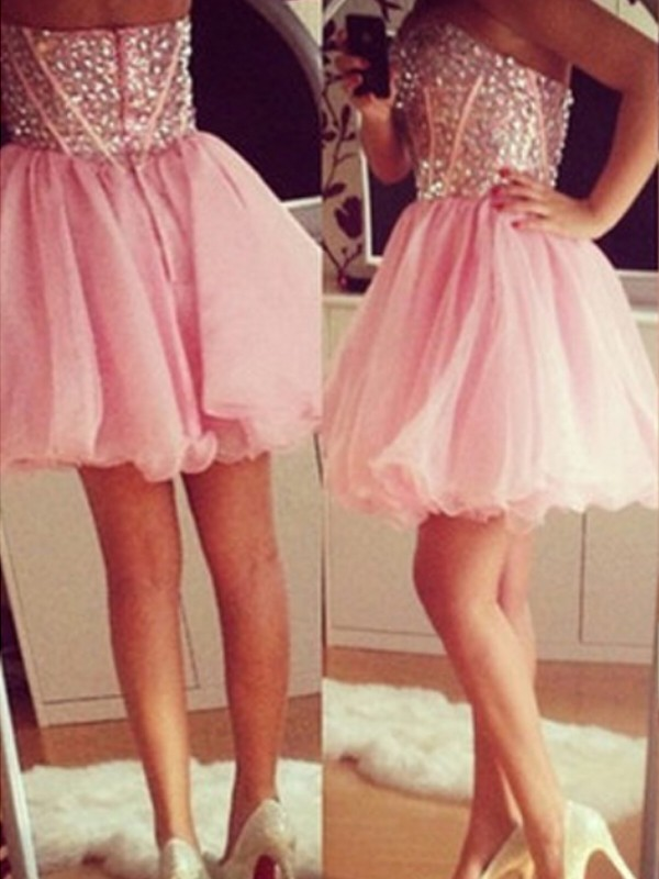 Glamour A-Line/Princess Sleeveless Sweetheart Tulle Short/Mini Dress With Beading