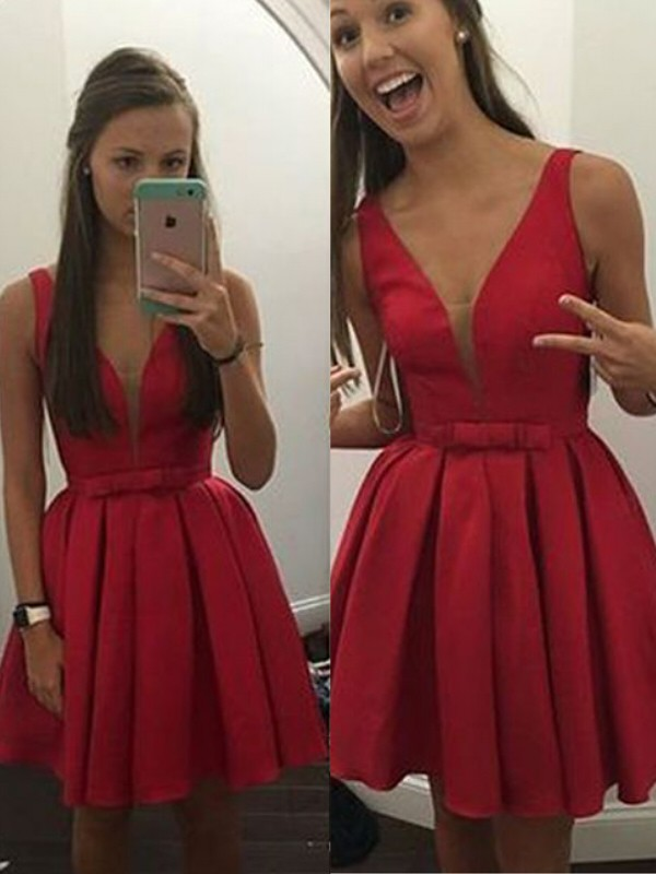 A-Line/Princess Sleeveless V-neck Satin Short/Mini Dress With Bowknot