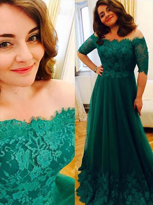 A-Line/Princess Short Sleeves Tulle Off-the-Shoulder Long Plus Size Dress With Applique