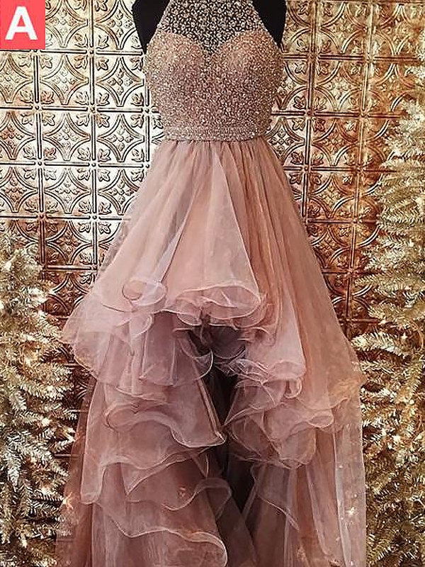 Ball Gown Halter Sleeveless Beading Sweep/Brush Train Tulle Dresses