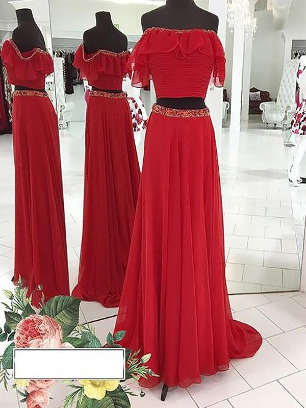 A-Line/Princess Sleeveless Off-the-Shoulder Chiffon Beading Floor-Length Two Piece Dresses