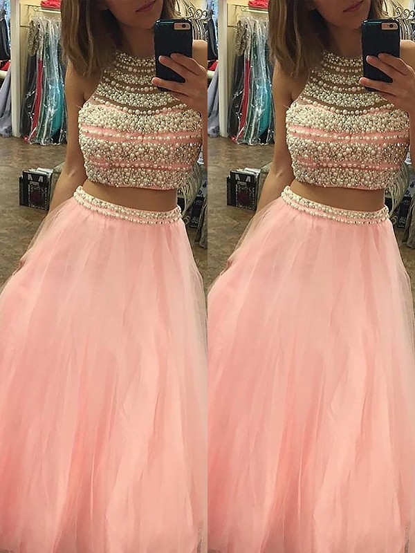 A-Line/Princess Halter Sleeveless Tulle Floor-Length Beading Two Piece Dresses