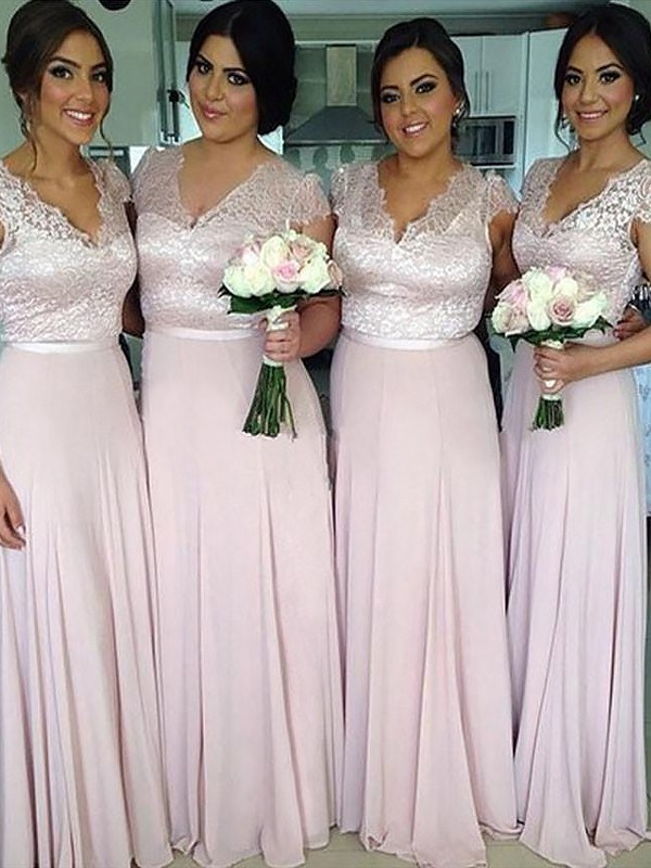 A-Line/Princess V-neck Floor-Length Chiffon Bridesmaid Dresses