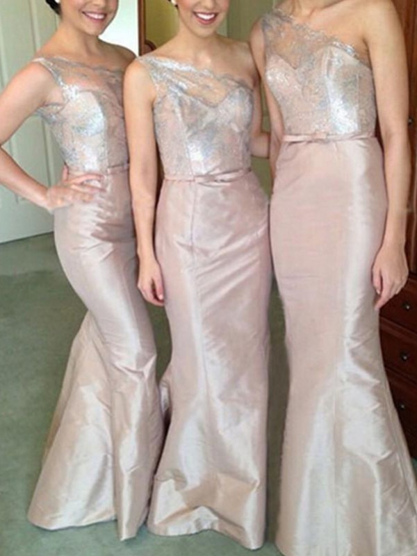 Trumpet/Mermaid One-Shoulder Floor-Length Satin Bridesmaid Dresses