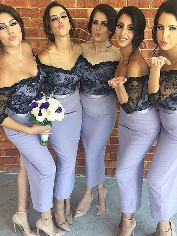 Trumpet/Mermaid Off-the-Shoulder Ankle-Length Lace Satin Bridesmaid Dresses