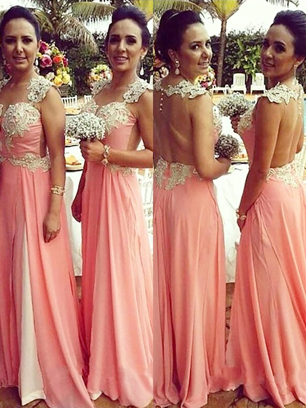 A-Line/Princess Straps Floor-Length Applique Chiffon Bridesmaid Dresses
