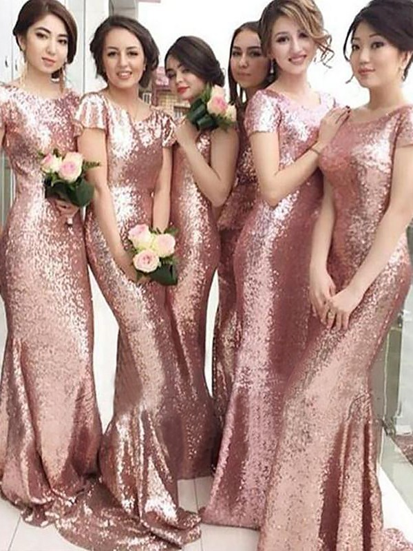 Sheath/Column Scoop Sweep/Brush Train Other Sequins Bridesmaid Dresses