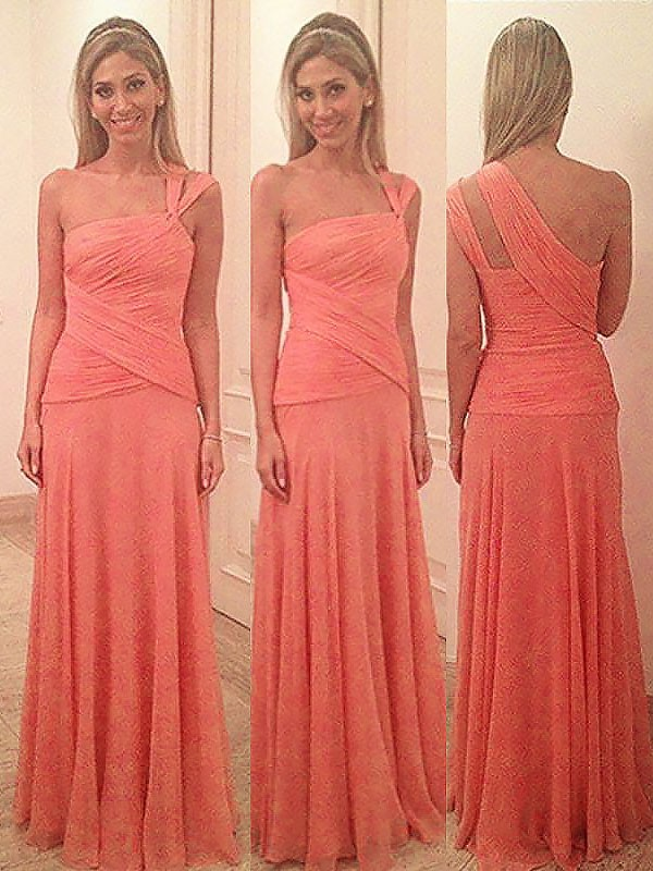 Sheath/Column One-Shoulder Floor-Length Chiffon Bridesmaid Dresses